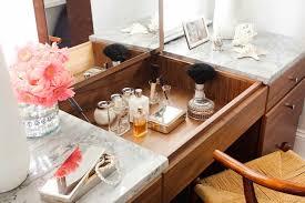 Flip Top Vanity Table Marble Top Vanity Transitional Bathroom Terracotta Studio