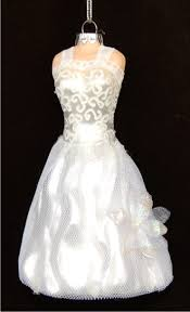 white on white wedding gown ornament