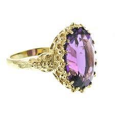 amethyst gold rings images Oval amethyst flower diamond ring 14k yellow gold amethyst rings jpg
