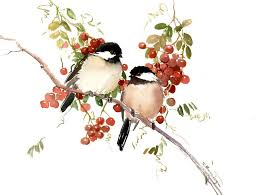 watercolor tutorial chickadee bird artwork vintage style chickadees bird painting wall art