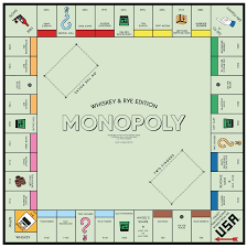monopoly map gift for distilled spirits fans custom whiskey rye or