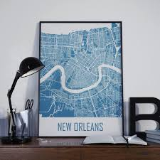 new orleans map travel map wall decor street map home decor