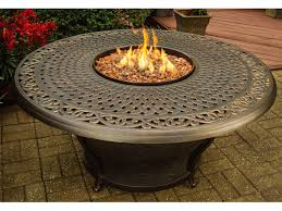 Outdoor Natural Gas Fire Pit Furniture Round Cast Iron Gas Fire Pit Table Placed On Stone