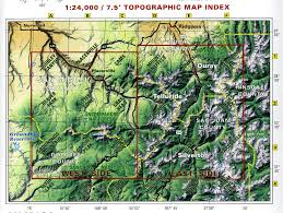 Colorado Elevation Map by Telluride Silverton Ouray Colorado Trails Recreation Topo Map