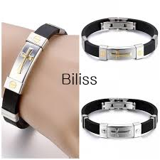 rubber bracelet with gold images Bracelets bangles stainless steel and black rubber bracelet with jpg