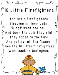 10 little firefighters poem for community helpers unit