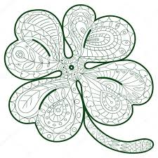 hand drawn four leaf clover for coloring pages in doodle