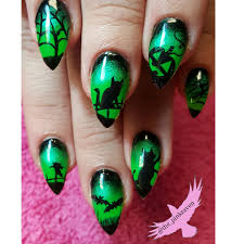 lime green halloween nails hand painted nail art cats bats crows