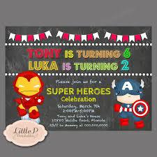 Superhero Invitation Card Ironman And Captain America Invitation Avenger Joint Birthday