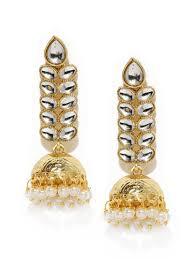 jhumka earrings gold gold toned kundan jhumka earrings
