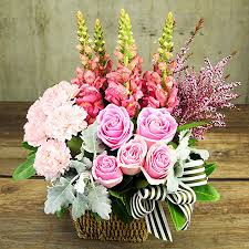flowers birthday precious pink basket of blooms flowers for everyone