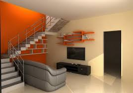 Duplex Stairs Design Utilizing Space Stairs With Grey Sofa For Entertainment Room