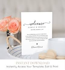 wedding welcome bag note welcome bag letter printable