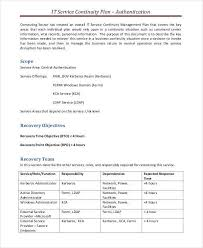 continuity plan template business continuity plan template free