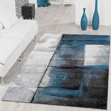 Wohnzimmer Grau Petrol Designer Teppich Karo Modern Handgearbeiteter Konturenschnitt Grau