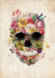 sugar skull paisley garden copyrighted print by christopher