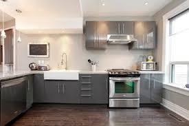 Dark Grey Kitchen Cabinets Dark Grey Contemporary Gloss Kitchen With Flat Cabinets And White