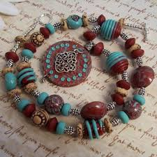 handmade necklace with beads images Southwestern necklace with handmade polymer clay beads jewelry jpg
