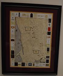 Framed World Map by 18 5x25 Sonoma Winery Map Poster Print Custom Framed And Double