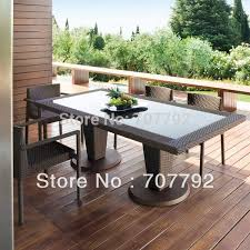 Outdoor Dining Area With No Chairs All Weather Outdoor Pe Rattan Dining Table And Chairs In Garden
