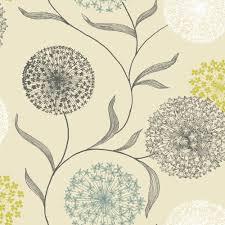 B Q Living Room Design Starburst Floral Blue U0026 Cream Wallpaper Departments Diy At B U0026q
