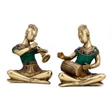 brass coral musical lady pair statue ethnic tribal home decor