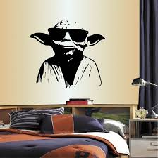 wall vinyl decal home decor art sticker master yoda in sunglasses