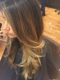 balayage warm cool tone highlight on long layered hair