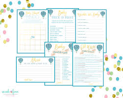 baby shower games instant download printable air balloon game