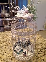 fairy christmas village village in a birdcage glitter paint fake