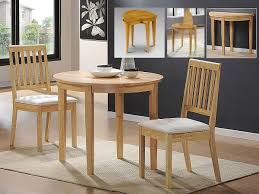 Small Solid Rubberwood Extending Dining Set  Chairs In Oak - Rubberwood kitchen table