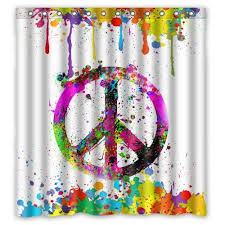 Nfl Shower Curtains Home Family Colorful Splash Peace Symbol Sign Painting