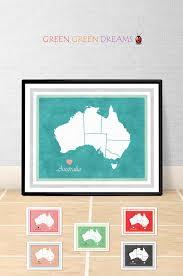 Home Decor Aus Australia Map Print Poster Wall Australia Aus States Maps
