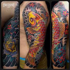 burnout ink koi sleeve tattoo old town tattoos palma de