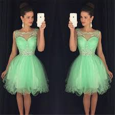mint green prom dresses 2017 short puffy sheer scoop neck crystals