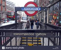 knightsbridge station london underground subway england uk stock