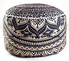 Pillow Ottoman Indian Black Gold Ombre Mandala Footstool Pouf