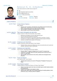 Resume For Video Production Mahmoud Almadhoun Uae Cv
