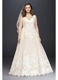 bridal wedding dresses scallop v neck lace tulle plus size wedding dress david s bridal