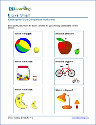 free preschool u0026 kindergarten comparison worksheets printable