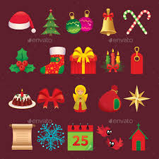 set of icons and symbols of christmas accessories by jelizarose