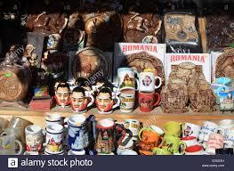 dracula souvenir mugs for sale at bran castle in transylvania