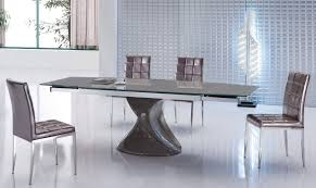 modern glass kitchen table contemporary grey extendable dining table with unique base wyoming