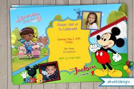 doc mcstuffin u0026 mickey mouse birthday invitation combined 2