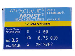 Most Comfortable Contacts For Astigmatism Cheap 1 Day Acuvue Moist For Astigmatism With Lacreon 30 Pk