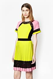 french connection arrow lace pleated dress in pink lyst