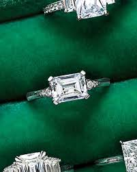 horizontal emerald cut engagement ring 44 engagement rings with brilliant cut and color martha stewart