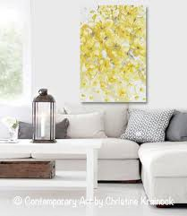 original home decor original art yellow grey abstract painting flowers floral home decor