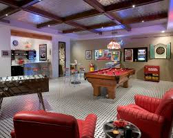 Game Room Basement Ideas - coca cola basement decor kitchen traditional with light blue wall