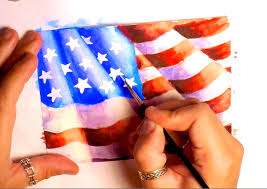 American Flag To Color Watercolor Painting How To Paint American Flag Speed Painting